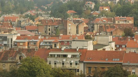 cityspace : Panorama of Zagreb rooftops, haze over the city, European architecture, travel