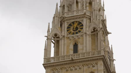 assumption : Steeple of Cathedral of the Assumption of Mary, gothic style of church, Zagreb Stock Footage