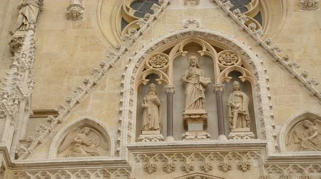 croatia : Beautiful sculptures decorating facade of Zagreb cathedral, travel to Croatia