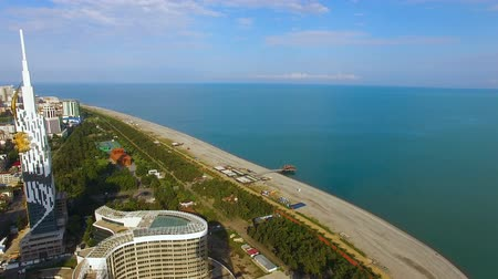 enjoyable : Seafront area of Black Sea resort town, aerial view of beach and park in Batumi
