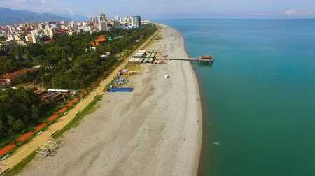 Грузия : Batumi Georgia public beach, Black Sea resort, tourist attraction, aerial view