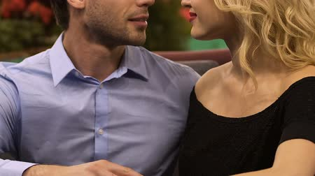 sensuous : Man and woman looking at each other, putting heads together, love relationship Stock Footage