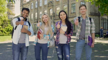 sincerely : Group of multiethnic students sincerely smiling, showing thumbs-up gesture