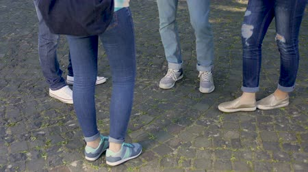 стенд : Group of male and female teenagers wearing jeans and sport shoes communicating