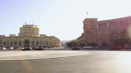 crossway : Car waiting at traffic light on Republic Square near History Museum, Armenia Stock Footage