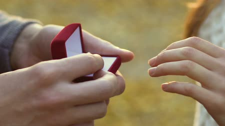 romance : Man putting silver engagement ring on woman hand, proposal in the autumn park