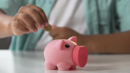 piggy bank : Kid putting coin in piggy bank, saving pocket money, financial literacy for kids