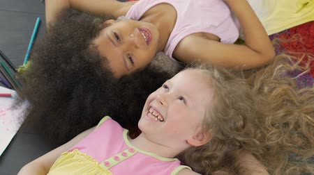 symbol of respect : Mixed race best friends smiling and enjoying time together, anti-racism symbol Stock Footage