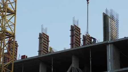 partitions : Builders installing concrete walls, housing construction, industrial safety