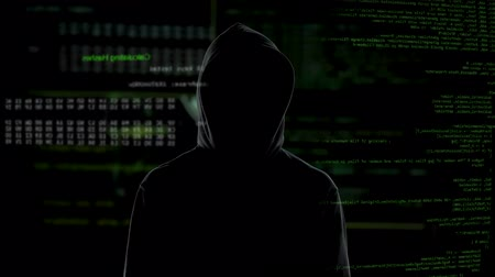 rabló : Male hacker in black viewing confidential information, cyber crime problem