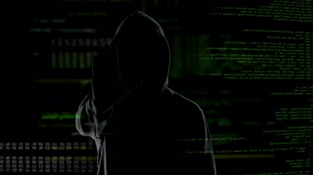 vulnerability : Secret hacker making stop gesture, warning government against illegal actions