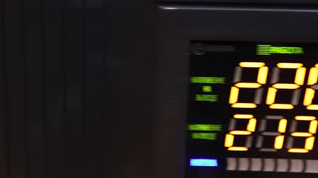 стабильность : Close-up of voltage converter display, uninterruptible power supply apparatus Стоковые видеозаписи