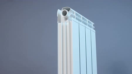 termostat : Vertical panorama of a household hot water radiator, heat-saving technology