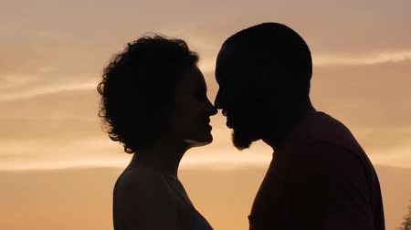 ingressou : Silhouettes of man and woman gently touching each other, sunset background Stock Footage