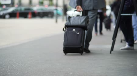 handbag : Businessman walking to train station with suitcase, business trip, travel