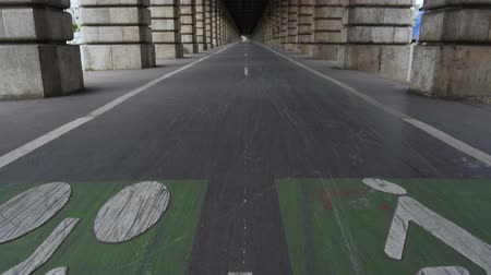 conhecido : Bicycle lane on Pont de Bercy, famous bridge over Seine river, travel to France