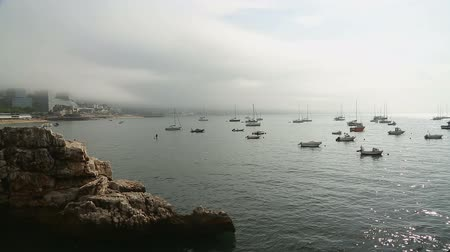seasons changing : Sailing boats standing moored at harbor in glowing light, foggy city at back