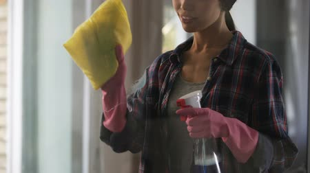 chemical agent : Female housekeeper carefully rubbing large panoramic windows of country house