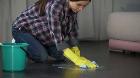 lekeler : Lady trying to get rid of stains on floor with special remover, polishing Stok Video