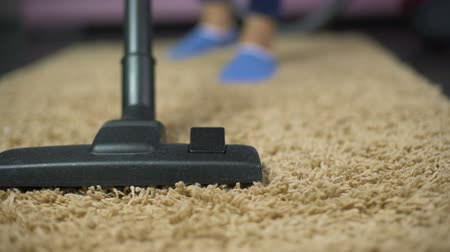 sucking : Close-up of vacuum cleaner sweeping dust from expensive rug, household hygiene Stock Footage