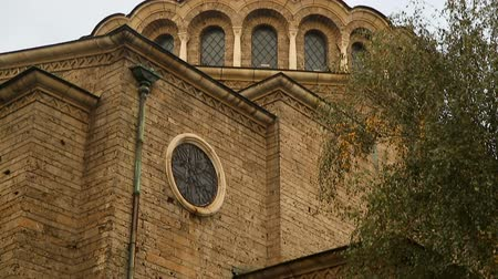 bolgár : Exterior elements of Saint Nedelya Church in Sofia, Bulgaria, religious place Stock mozgókép