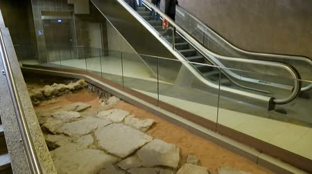 archeological : Subway station exit alongside ancient excavation site in Sofia, preservation Stock Footage
