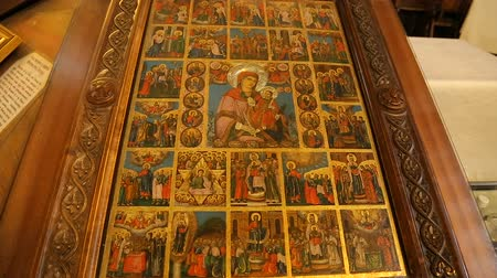 holy book : Images of scenes from Holy Book inside church, Jewish star and motifs, sacred