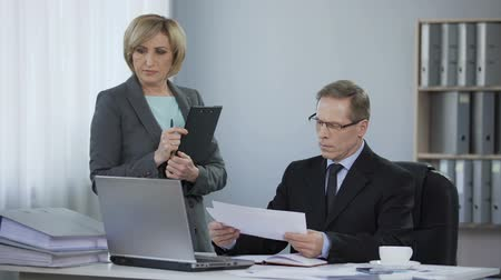 ethic : Subordinate office woman feeling uncomfortable at meeting with boss, wrong job