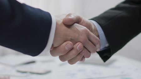 corporate affairs : Two male business partners shaking hands, profitable agreement, co-operation