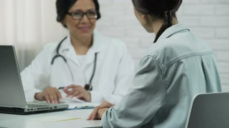 saying : Professional doctor helped patient, effective treatment, happiness and recovery Stock Footage