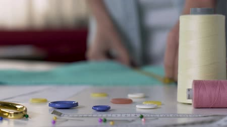 interessado : Woman working on handmade toys at home, buttons close up, creative hobby Vídeos