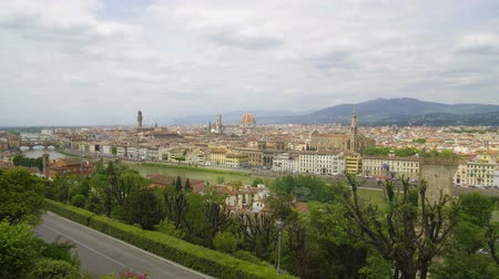 toszkána : Amazing landscape of Florence city, Arno river and Apennine mountains, tourism
