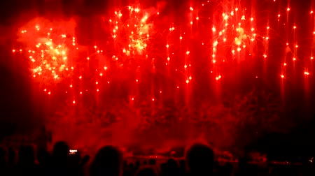 brilho intenso : Crowd of people admiringly watching bright splashes of fireworks in night sky