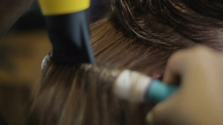 bob hairstyle : Stylist drying and making hairdo to clients healthy hair, womens beauty bar