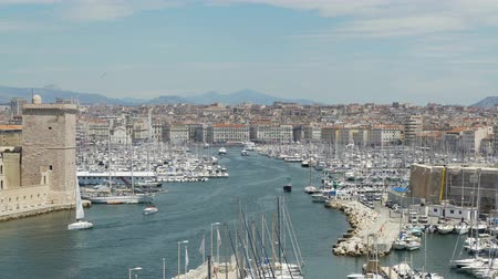 pleasure boats : Great amount of ships and yachts moored in Vieux-Port in Marseille, France