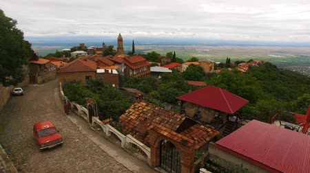 gürcü : Aerial view of old cobblestone street with beautiful houses in Sighnaghi town