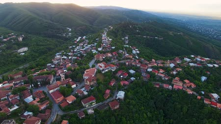 grúz : Ecotourism in Georgia, fascinating aerial view of beautiful Sighnaghi town