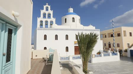 УВР : Orthodox church in white against blue clear sky on Santorini, Greece, religion