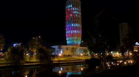 шесть : Ministry of justice building lighting at night, sightseeing place in Batumi Стоковые видеозаписи