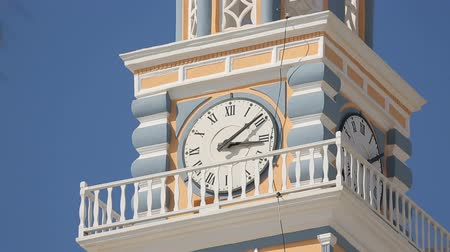 požehnat : Church clock tower against blue sky in Fira on Santorini, tourism and religion