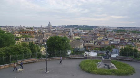 observation deck : People walking along observation deck enjoying lovely view of Rome, low season