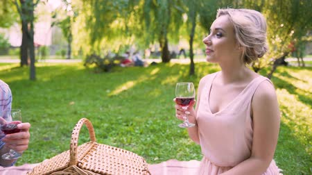 treating : Boyfriend telling interesting stories to girlfriend, treating her wine open air Stock Footage