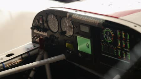 indicating : Board panel of small aircraft, preparation before taking off, refuel blinking Stock Footage