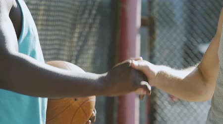 streetball : Team players shaking hands after successful game, group sport, understanding Stock Footage
