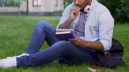 alfabetização : University student sitting on grass, writing essay, literary studies project