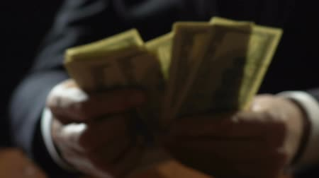 lucrative : Corrupt business person counting dollar banknotes, financial crime, embezzlement