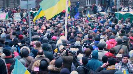 maidan : Presidential candidate Petro Poroshenko joining crowd of Ukrainian protesters Stock Footage