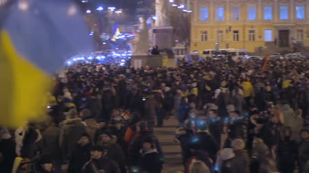 manifestation : Thousands of Ukrainians assemble together with national flags to voice opinion