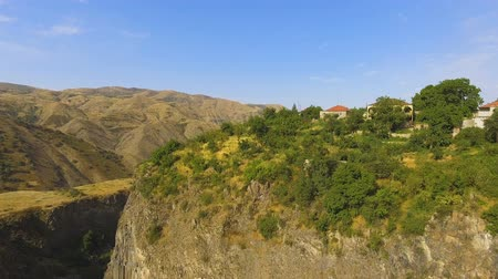 settlement : Beautiful mountain village Halidzor on hill, Armenia landscape aerial view