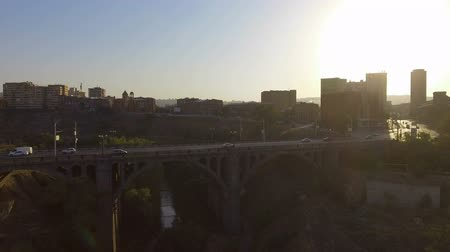 riverbank : Large number of cars crossing Victory bridge in Yerevan, travel to Armenia